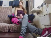 Hot babe Gina Gerson public sex in train