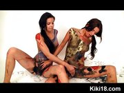 Lesbians pussy painting