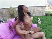 Hot ebony Marie Luv fucked outside