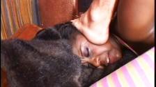 Ebony hussy swallowing naughty