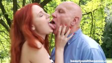 Fiery redhead teen honey suck and fuck an old