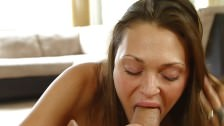 1000Facials Cute brunette's face full of cum!