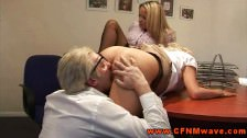Hot CFNM femdoms demanding oral
