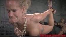 BDSM sub Simone Sonay mouth fucked