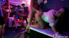 Very sexy pornstars gets nailed in a club