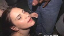 Brunette Bitch Sucks and Fucks Gang Of Dicks